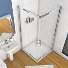 DOUBLE SLIDING SHOWER DOOR ENCLOSURE GLASS CUBICLE SCREEN + STONE TRAY
