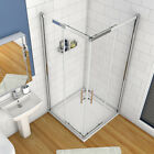 Corner Entry Double Sliding Shower Enclosure Glass Door Cubicle Stone Tray&Waste