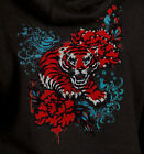 Japanese Tiger Hoodie vintage flowers rose girly