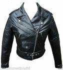 Black Ladies Brando Retro Biker Style Leather Jacket