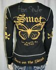 SMET Audigier Womens Black Butterfly Thermal shirt NWT