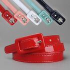 Womens Covered Buckle Patent Leatherette Skinny Belt