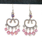 Lavender LIGHT AMETHYST Crystal Chandelier Earrings Silver Swarovski Elements