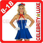 New Ladies Blue Navy Sailor Uniform Fancy Dress Up Costume Hat Collar Olive Oyl