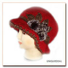 2011 New Fashion CROCHET CHEMO WINTER HAT BEANIE W FLOWER PIN / Red Q113