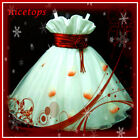 R818 Red White Christmas Party Outfit Flowers Girls  Dresses SZ 2-3-4-5-6-7-8-10