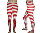 SEXY RED & WHITE STRIPED LEGGINGS FANCY DRESS COTUME