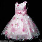 P3211 S/S Pinks Floral Bridal Party Flower Girls Pageant Dresses SZ 3-4-5-6-7-8Y