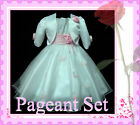 P05-2110 Pink White Bridesmaid Girls Dress + Cardigan Set SZ 2-3-4-5-6-7-8-9-10Y