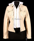 LOLA Beige New Ladies Women's Material Cotton Hooded Fleece Real Leather Jacket
