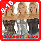 New Satin Ladies Sequin Faux Leather Rockabilly Burlesque Corset Fancy Costume
