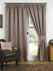 "Latte Luxury Swirls Woven Ready Made Fully Lined 3"" Tape Curtains"