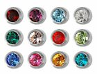 Studex Ear Piercing Mini Stainless Steel Stud Earrings 2mm Bezel - Birthstones