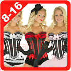 New Burlesque Lingerie Top Set Bustier Ladies Corset Costume Ruffle Lace Bow