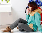 Korea Girl Lovely Furry Down YJR30 Warm Hoodie Coat Outwear
