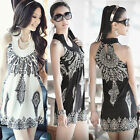 QQ1 Exotic Totem Vintage Stand Collar Sleeveless Mini Dress