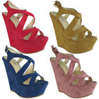 Crazy Sale! Womens Ladies Buckle Platform Peeptoe High Heel Wedges Sandals Sizes