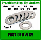 Flat Washers - A2 Stainless Steel - Form A - M3 M4 M5 M6 M8 M10 M12 M16 M20 M24
