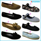 Ladies Womens Girls Canvas Ballerinas Ballet Pumps Shoes Dolly Flat Size UK 3- 8