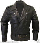 Men's Black Retro Style Motorcycle Biker Brando Cruiser Soft Leather Jacket