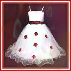 R408 Red White Princess Fairytale Party Flower Girls Dress SIZE 2,3,4,5,6,7,8,9