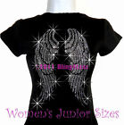 Large Angel Wings Rhinestone Iron On Black T-Shirt - Pick Size S-3XL - Top Bling