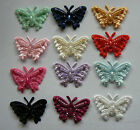 5 Satin Beaded Butterfly Embellishments- 20mm x 35mm- 15 different colours!