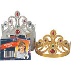 Gold or Silver Princess Queen Metallic Plated Tiara W/ Jewels Costume Accessory
