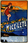 Nice Girl Beach Boat France Europe Travel Tourism Vintage Poster Repro FREE S/H