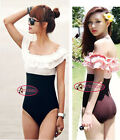 Two Tone Ruffle Off Shoulder High Waist One Piece Swimsuit Bathing Suit SW196