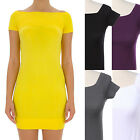 Seamless Spandex Fitted Sexy Solid Shirred Wide Neck Short Sleeve Mini Dress