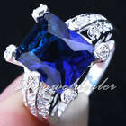 Women Silver Ring Blue Sapphire