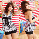 Classic Black & White Zebra Bow Knot Tankini Set Swimsuit Bathing Suit UW230