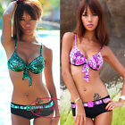 Sexy Floral Waist Belt Push Up Twist Bikini Set Swimsuit Bademode  GW241