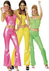 1960's 1970's Disco Girl Fancy Dress Costume PVC Bustier & Bell Bottom Trousers