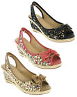 Womens Canvas Wedge Floral Vintage Sling Back Dress Party Casual Sandals UK 3-8