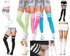 DELUXE SPORTS ATHLETIC SCHOOL CHEERLEADER TUBE STRIPED KNEE THIGH HIGH SOCKS