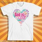NEW KERUSSO ~GOD IS LOVE HEART ~  CHRISTIAN ADULT T-SHIRT  Attributes of God