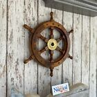 "12"" Ships Wheel ~ Wood Brass ~ Wooden ~ Pirate Captain ~ Nautical Maritime"