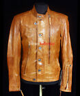 Hunter Tan Men's New Retro Smart Casual Real Soft Waxed Leather Safari Jacket