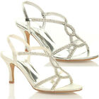 WOMENS WEDDING MID HEEL LADIES BRIDAL EVENING DIAMANTE SANDALS PROM SHOES SIZE