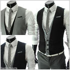 THELEES (VE35) Mens Casual Layered Style 3 Button Slim Waistcoat Vest