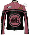 """LUCKY STRIKE"" Ladies Pink Leather Motorcycle Jacket - All Sizes!"