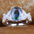 Fashion Engagement Party Silver Ring Oval Stone Embed Butterfly