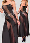 Sexy Chemise Black Nightie Babydoll LINGERIE LONG Evening Gowns Dress + String