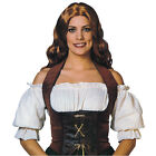 VELVET BROWN / BLACK CORSET ADULT MEDIEVAL GOTHIC FANCY DRESS COSTUME ACCESSORY