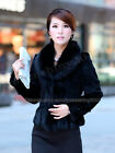 100% Real Genuine Rabbit Rex Coat Big Fox Collar Jacket 7 Colors Women Fashion