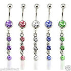 Cubic Zirconia Strand Dangle Belly Bar / Navel Ring - Choose Colour
