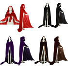 Stock ! 5 Colour Velvet Hooded Black Cloak Coat Red Cape Shawl Halloween Wedding