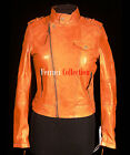 Tricia Tan New Ladies Short Military Retro Biker Real Soft Waxed Leather Jacket